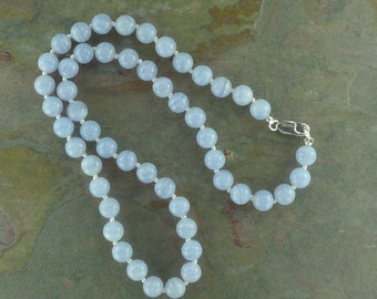 BLUE LACE AGATE Chakra Necklace All Natural Semi-Precious Stones Healing Metaphysical