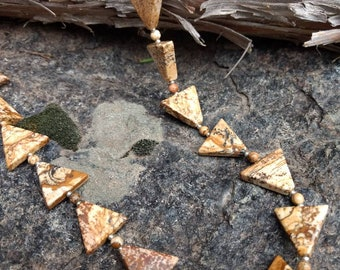 Picture Jasper Triangle Natural Gemstone Sterling Silver Necklace