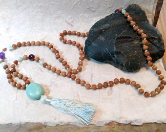 MALA: SANDALWOOD & TURQUOISE Amethyst Garnet Natural + Fragrant Beads Silk Tassel Necklace 108 Count