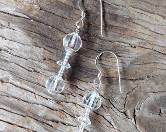 Clear Aurora Borealis Swarovski Crystal Clear AB Colorful Wedding Prom Sterling Earrings