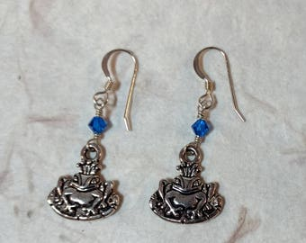 Frog Prince w/ Bright Blue Swarovski Cyrstal Sterling Silver Earrings