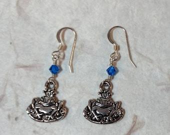 Frog Prince w/ Bright Blue Swarovski Cyrstal Sterling Silver Earrings