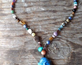 CARVED BUDDHA Denim LAPIS Mixed Natural Gemstone Sterling Silver Necklace