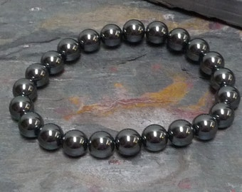 HEMATITE Chakra Stretch Bracelet All Natural Semi-Precious Stones Healing Metaphysical