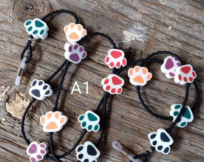 SALE: Fun Multi Color DOG PAW Print Fimo Polymer Clay, Glass Beads, Rubber Tubing Eyeglass Chain