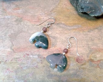 MOSS AGATE w/Purple Aventurine Bear Fetish Zuni Gemstone Earrings Sterling Silver