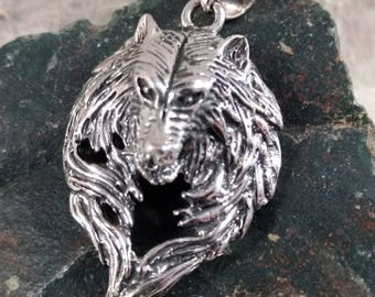 Big WOLF DIREWOLF Face Head Sterling Silver Pendant Unique! STATEMENT Wow!