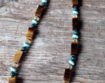 TIGEREYE TURQUOISE MALACHITE Citrine Stone Natural Gemstone Sterling Silver Necklace