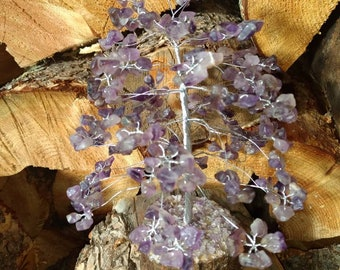 AMETHYST Gemstone Tree Handmade Natural Semi-Precious Stones Healing Metaphysical