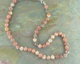 LEPIDOLITE (PINK) Chakra Necklace All Natural Semi-Precious Stones Healing Metaphysical