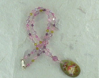 Floral Painted Mother of Pearl Pendant with Swarovski Crystals Necklace