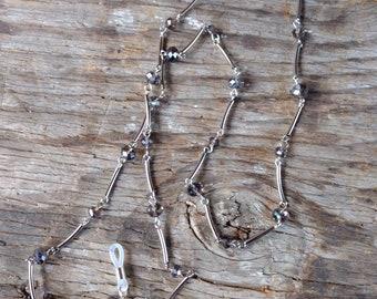 SMOKY GREY Flash Beads, Czech Glass Beads, Linked Silver Wire Eyeglass Chain