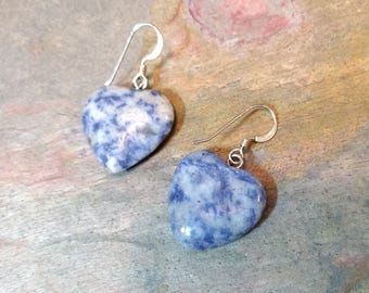 DENIM LAPIS HEART Gemstone Earrings Sterling Silver Natural Stone