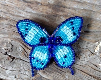 BUTTERFLY Hand-stitched Glass Seedbead Beaded Pin Brooch
