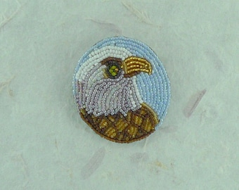 American EAGLE Hand-stitched Glass Seedbead Beaded Pin Brooch