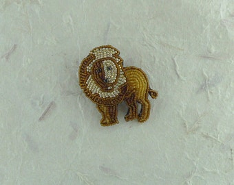 LION MALE MANE Hand-stitched Glass Seedbead Beaded Pin Brooch