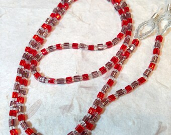 SALE: Pretty RED & PURPLE (Pastel) Silver Lined Glass Beads Eyeglass Chain