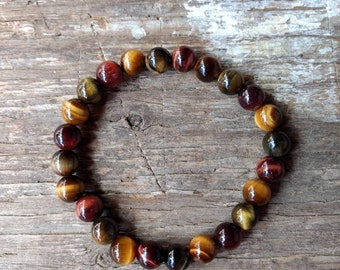 TIGER EYE (Tri Color) Chakra Stretch Bracelet All Natural Semi-Precious Stones Healing Metaphysical