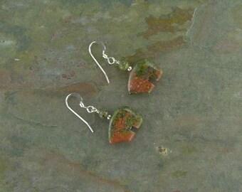 Bear Fetish Zuni Gemstone Earrings Sterling Silver Unakite