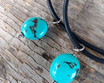 TURQUOISE Natural Bead Pendant w/Sterling Silver on Rubber Cord Necklace