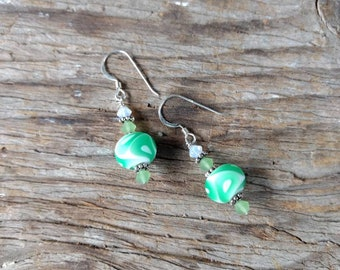 SALE: Swirl Glass GREEN & WHITE Matte Lampwork Swarovski Crystal w/ Sterling Silver Earrings