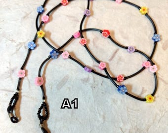 SALE: Pretty MULTI-COLORED Flowers Spring Fimo Polymer Clay and Glass Beads Eyeglass Chain