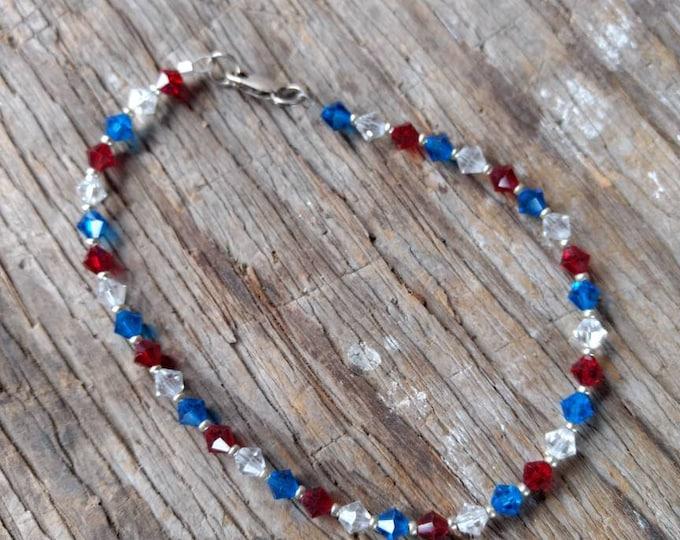 Patriotic ANKLET / BRACELET Red White & Blue Swarovski Crystal Colorful Sterling Silver Choose Size