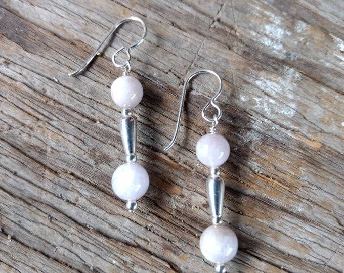 Kunzite Gemstone Earrings Sterling Silver Natural Stone