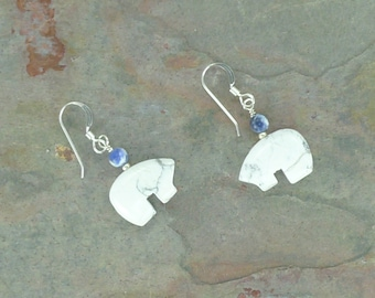 Bear Fetish Zuni Gemstone Earrings Sterling Silver White Howlite & Sodalite