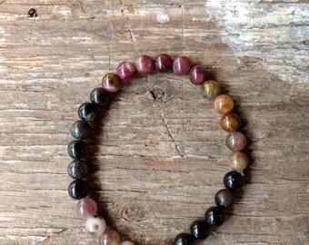 WATERMELON TOURMALINE Chakra Stretch Bracelet All Natural Semi-Precious Stones Healing Metaphysical