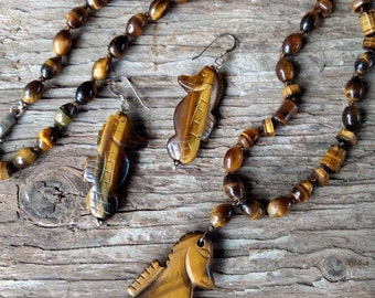 SET: Tigereye SEA HORSE Necklace & Earrings All Natural Semi-Precious Stones Healing Metaphysical