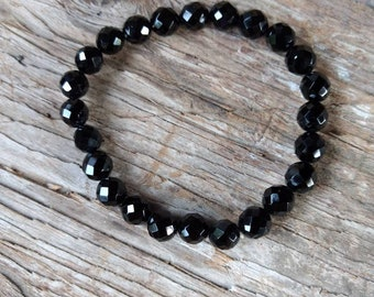 BLACK ONYX (Faceted) Chakra Stretch Bracelet All Natural Semi-Precious Stones Healing Metaphysical