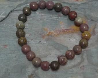 CRAZY HORSE Jasper (DARK) Chakra Stretch Bracelet All Natural Semi-Precious Stones Healing Metaphysical