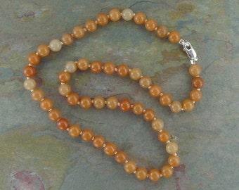 PEACH AVENTURINE Chakra Necklace All Natural Semi-Precious Stones Healing Metaphysical