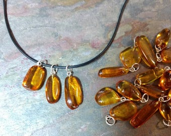 Genuine BALTIC AMBER INSECT Inclusion Pendant on Rubber Cord Necklace