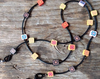 SALE: Whimsical Multiple Color SQUARES Fimo Polymer Clay, Glass Beads, Rubber Tubing Eyeglass Chain