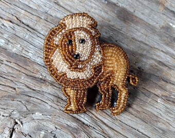 African LION MALE MANE Hand-stitched Glass Seedbead Beaded Pin Brooch