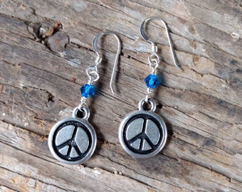 Peace Sign Pewter Charm w/ Cobalt Swarovski Cyrstal Sterling Silver Earrings