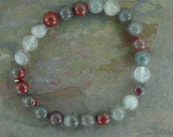 BLOODSTONE (African) Chakra Stretch Bracelet All Natural Semi-Precious Stones Healing Metaphysical