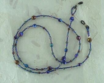 SALE: Pretty CELESTIAL TWILIGHT Blue Purple Iris Glass & Swarovski Crystal Beads Eyeglass Chain