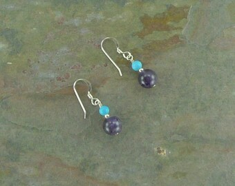 AMETHYST & Sleeping Beauty TURQUOISE Gemstone Earrings Sterling Silver Natural Stone