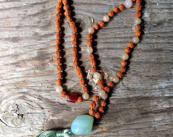 MALA: RUDRAKSHA SEEDS & Chalcedony, Aventurine, Carnelian Natural Beads Silk Tassel Necklace 108 Count