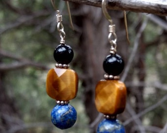 TIGEREYE LAPIS LAZULI Black Onyx Gemstone Earrings Sterling Silver Natural Stone