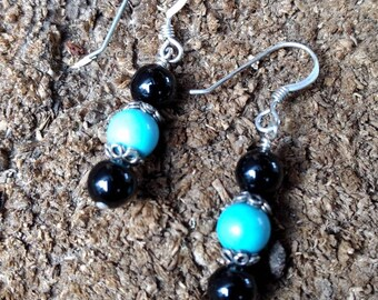 BLACK ONYX Sleeping Beauty TURQUOISE Gemstone Earrings Sterling Silver Natural Stone