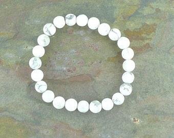 HOWLITE Chakra Stretch Bracelet All Natural Semi-Precious Stones Healing Metaphysical