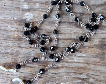 BLACK LINKED Czech Diamond Glass Beads & Silver Beads, Silver Wire Eyeglass Chain