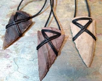 ARROWHEAD JASPER Natural Gemstone Pendant, Adjustable Cord