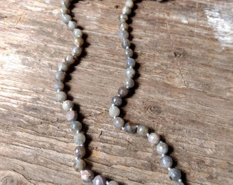 LABRADORITE (Faceted) Chakra Necklace All Natural Semi-Precious Stones Healing Metaphysical