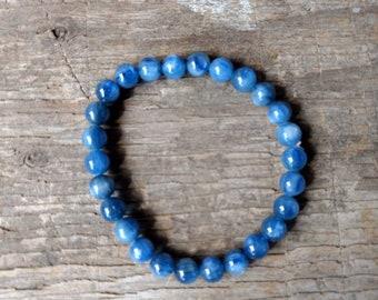 BLUE KYANITE Chakra Stretch Bracelet All Natural Semi-Precious Stones Healing Metaphysical