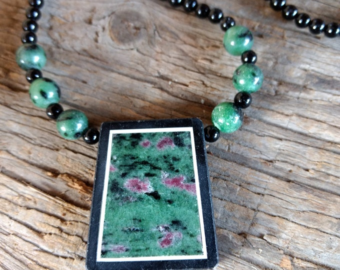 RUBY ZOISITE & Black Onyx, Sterling Silver Necklace